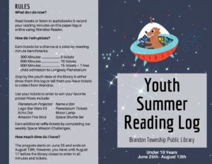 Youth Summer Reading Log (click to view PDF)